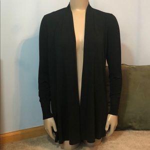Eileen Fisher Black Silk Draped Cardigan